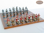 picture of Magnificent Chessmen with Patterned Italian Leatherette Chess Board (5 of 8)