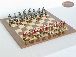 Magnificent Chessmen with Spanish Lacquered Chess Board [Wood] - Item: 878