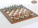 Magnificent Chessmen with Italian Lacquered Chess Board [Wood] - Item: 886