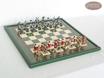 Magnificent Chessmen with Italian Lacquered Board [Green] - Item: 884
