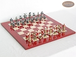 Magnificent Chessmen with Italian Lacquered Chess Board [Red] - Item: 888