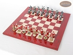 picture of Magnificent Chessmen with Italian Lacquered Chess Board [Red] (2 of 8)