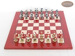 picture of Magnificent Chessmen with Italian Lacquered Chess Board [Red] (3 of 8)
