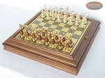 Modern Italian Staunton Chessmen with Italian Brass Board with Storage - Item: 897