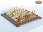 Modern Italian Staunton Chessmen with Italian Brass Chess Board [Raised] - Item: 901