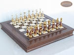 Modern Italian Staunton Chessmen with Italian Alabaster Chess Board with Storage - Item: 900