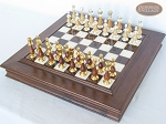 Modern Italian Staunton Chessmen with Italian Alabaster Chess Board with Storage