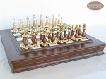 picture of Modern Italian Staunton Chessmen with Italian Alabaster Chess Board with Storage (5 of 8)