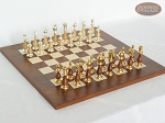 Modern Italian Staunton Chessmen with Italian Lacquered Chess Board [Wood] - Item: 902