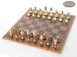 Champion Brass Staunton Chessmen with Patterned Italian Leatherette Chess Board - Item: 906