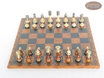 picture of Champion Brass Staunton Chessmen with Patterned Italian Leatherette Chess Board (2 of 5)