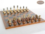 picture of Champion Brass Staunton Chessmen with Patterned Italian Leatherette Chess Board (3 of 5)