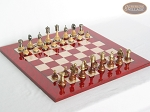 Champion Brass Staunton Chessmen with Italian Lacquered Chess Board [Red] - Item: 910