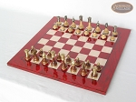 picture of Champion Brass Staunton Chessmen with Italian Lacquered Chess Board [Red] (2 of 7)