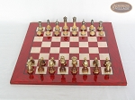 picture of Champion Brass Staunton Chessmen with Italian Lacquered Chess Board [Red] (3 of 7)