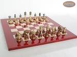 picture of Champion Brass Staunton Chessmen with Italian Lacquered Chess Board [Red] (5 of 7)