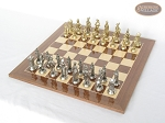 French Heritage Chessmen with Spanish Lacquered Chess Board [Wood] - Item: 914