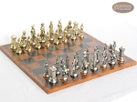 French Heritage Chessmen with Patterned Italian Leatherette Board - Item: 915