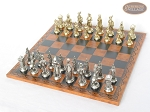 picture of French Heritage Chessmen with Patterned Italian Leatherette Board (2 of 6)