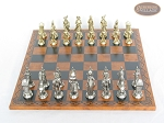 picture of French Heritage Chessmen with Patterned Italian Leatherette Board (3 of 6)