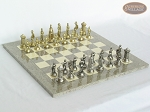 The Aristocratic Chessmen with Spanish Lacquered Chess Board [Grey] - Item: 922