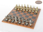 picture of The Aristocratic Chessmen with Patterned Italian Leatherette Board (2 of 7)