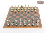 The Aristocratic Chessmen with Patterned Italian Leatherette Board
