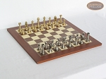 Professional Brass Tournament Chessmen with Spanish Traditional Chess Board [Small] - Item: 929