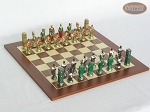 Colored Brass Roman Chessmen with Spanish Wood Chess Board - Item: 934