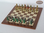 picture of Colored Brass Roman Chessmen with Spanish Wood Chess Board (2 of 8)
