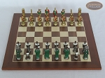 picture of Colored Brass Roman Chessmen with Spanish Wood Chess Board (3 of 8)