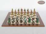 picture of Colored Brass Roman Chessmen with Spanish Wood Chess Board (4 of 8)