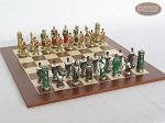 Colored Brass Roman Chessmen with Spanish Wood Chess Board