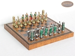 Colored Brass Roman Chessmen with Patterned Italian Leatherette Chess Board with Storage [Brown] - Item: 935