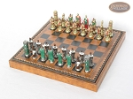 picture of Colored Brass Roman Chessmen with Patterned Italian Leatherette Chess Board with Storage [Brown] (2 of 9)