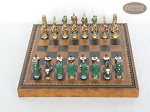 picture of Colored Brass Roman Chessmen with Patterned Italian Leatherette Chess Board with Storage [Brown] (3 of 9)