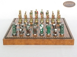 picture of Colored Brass Roman Chessmen with Patterned Italian Leatherette Chess Board with Storage [Brown] (4 of 9)