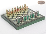 Colored Brass Roman Chessmen with Patterned Italian Leatherette Chess Board with Storage [Green] - Item: 936