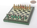picture of Colored Brass Roman Chessmen with Patterned Italian Leatherette Chess Board with Storage [Green] (2 of 9)