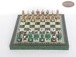 picture of Colored Brass Roman Chessmen with Patterned Italian Leatherette Chess Board with Storage [Green] (3 of 9)