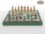 picture of Colored Brass Roman Chessmen with Patterned Italian Leatherette Chess Board with Storage [Green] (4 of 9)