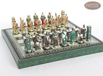 picture of Colored Brass Roman Chessmen with Patterned Italian Leatherette Chess Board with Storage [Green] (5 of 9)