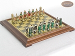 Colored Brass Roman Chessmen with Italian Brass Chess Board [Raised] - Item: 937