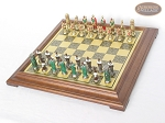 picture of Colored Brass Roman Chessmen with Italian Brass Chess Board [Raised] (2 of 8)