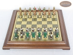 picture of Colored Brass Roman Chessmen with Italian Brass Chess Board [Raised] (3 of 8)