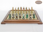 picture of Colored Brass Roman Chessmen with Italian Brass Chess Board [Raised] (4 of 8)