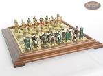 picture of Colored Brass Roman Chessmen with Italian Brass Chess Board [Raised] (5 of 8)