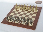 picture of Brass Roman Chessmen with Spanish Wood Chess Board (2 of 8)