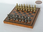 picture of Brass Roman Chessmen with Patterned Italian Leatherette Chess Board with Storage [Brown] (2 of 9)