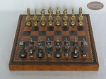 picture of Brass Roman Chessmen with Patterned Italian Leatherette Chess Board with Storage [Brown] (3 of 9)
